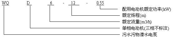 WQD单相潜水电泵型号意义