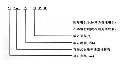 ZWL直联式自吸泵型号意义